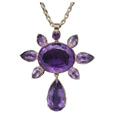 Antique Victorian Amethyst Pendant Necklace 15ct Gold Chain Circa 1900