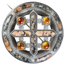 Antique Victorian Scottish Granite Citrine Brooch Silver Circa 1860