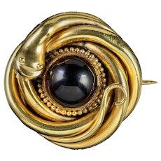 Antique Victorian Snake Brooch Glass Garnet 18ct Gold Gilt Circa 1880