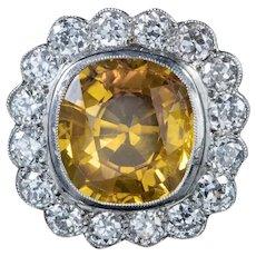 Yellow Sapphire Diamond Cluster Ring 18ct Gold 6ct Sapphire