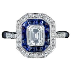 Emerald Cut Diamond Sapphire Cluster Ring 18ct White Gold
