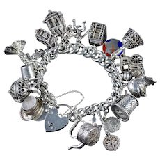 Vintage Heavy Silver Charm Bracelet Dated 1963