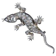 Antique Victorian French Paste Lizard Brooch Silver Circa 1880