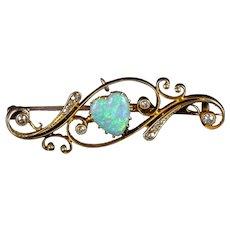 Antique Victorian Opal Diamond Heart Brooch 18ct Gold Circa 1900