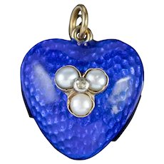 Antique Victorian Blue Enamel Pearl Diamond Heart Locket Circa 1860