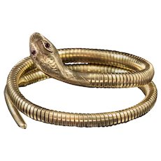 Vintage Snake Bangle 9ct Rolled Gold Smith And Pepper Dated 1972