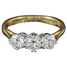 Antique Edwardian 18ct Gold Platinum Diamond Trilogy Ring Circa 1905