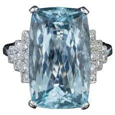 Aquamarine Diamond Cocktail Ring 15ct Aqua Platinum