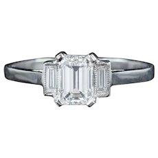 Vintage Art Deco Emerald Cut Diamond Trilogy Ring Platinum Circa 1920 Cert