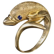 Vintage 14ct Gold Dolphin Ring Sapphire Eyes