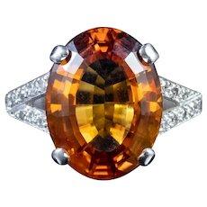 7ct Citrine Diamond Ring 18ct White Gold