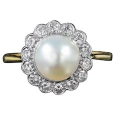 Vintage Pearl Diamond Cluster Ring 18ct Gold Dated 1995
