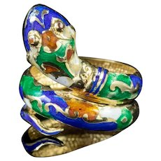 Vintage Serpent Snake Ring 9ct Gold Enamel
