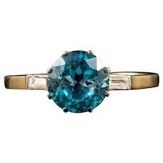 Antique Art Deco Blue Zircon Diamond Ring 9ct Gold Platinum Circa 1920
