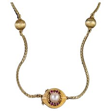 Vintage 14ct Gold Ball Chain Necklace Pearl Ruby Clasp Circa 1960