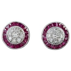 Diamond Ruby Cluster Stud Earrings Platinum