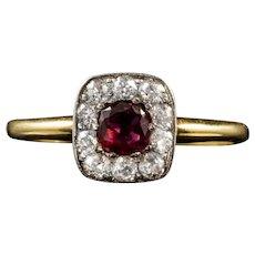 Antique Art Deco Ruby Diamond Ring 18ct Gold Circa 1930
