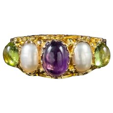 Vintage Suffragette Ring 9ct Gold Amethyst Peridot Pearl Dated 1921
