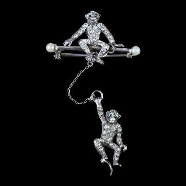 Art Deco Double Monkey Sterling Silver Paste Brooch Circa 1920