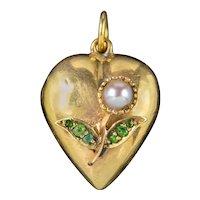 Antique Victorian Heart Locket Pendant Pearl Green Garnet Flower 18ct Gold Circa 1880