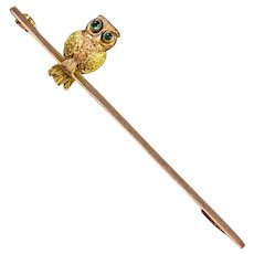 Antique Victorian Boxed Owl Brooch 9ct Gold Circa 1900
