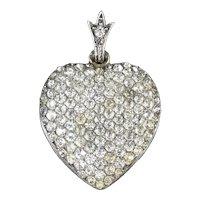 Antique Edwardian Boxed Silver Paste Heart Pendant Circa 1910