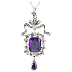 Antique Edwardian Paste Amethyst Pendant Necklace Silver Boxed Harvey And Gore Circa 1905