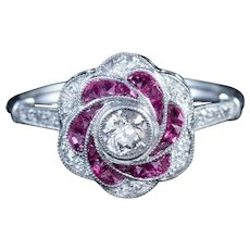 1ct Diamond Ruby Cluster Engagement Ring Platinum