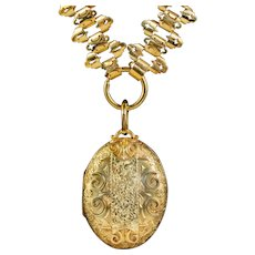 Antique Victorian Mourning Locket Collar Necklace Silver 18ct Gold Gilt Dated 1883