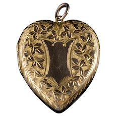 Antique Edwardian Ivy Heart Locket 9ct Gold Dated Chester 1908