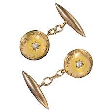 Antique Victorian Diamond Cufflinks 15ct Gold Circa 1880