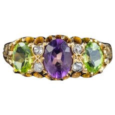 Antique Edwardian Suffragette Ring 18ct Gold Peridot Amethyst Diamond Dated 1905