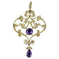Antique Edwardian Amethyst Pearl Pendant 15ct Gold Circa 1905