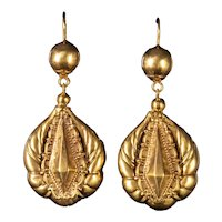 Antique Victorian Drop Earrings 18ct Gold Circa 1880