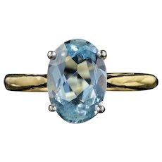 Vintage 2.50ct Aquamarine Engagement Ring 18ct Gold Dated 1984
