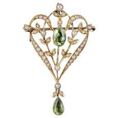 Antique Edwardian Floral Peridot Pearl Pendant Brooch 15ct Gold Circa 1905