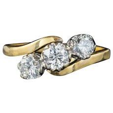 Vintage Diamond Trilogy Twist Engagement Ring 18ct Gold 1.60ct Diamonds