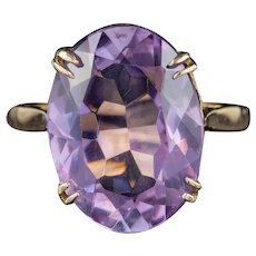 Vintage Amethyst Ring 8ct Amethyst 9ct Gold Dated 1963
