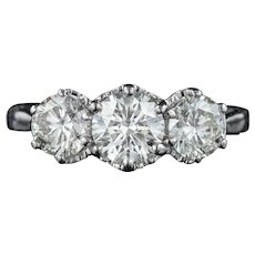 Antique Diamond Trilogy Ring 18ct White Gold 2ct Diamond Circa 1920