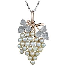 Antique Art Deco Natural Pearl Grapes Pendant Necklace 18ct Gold Circa 1920 Boxed