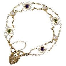 Antique Edwardian Suffragette Heart Padlock Bracelet 9ct Gold Circa 1910