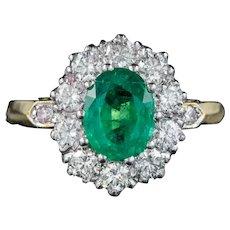 Vintage Emerald Diamond Cluster Ring 18ct Gold Platinum Circa 1930