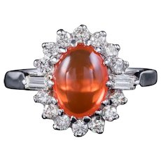 Vintage Fire Opal Diamond Cluster Ring 18ct White Gold 1.75ct Opal 1.20ct Diamonds