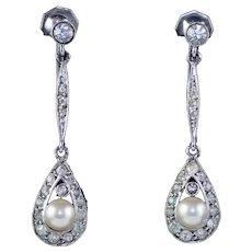 Art Deco Pearl Paste Drop Earrings Sterling Silver Circa 1930 Boxed