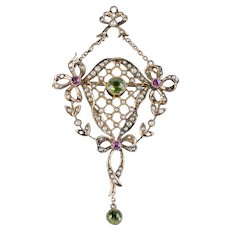 Suffragette Bow Pendant Brooch Peridot Amethyst Pearl 9ct Gold Circa 1910