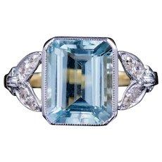 Emerald Cut Aquamarine Diamond Ring 3ct Aqua 18ct Gold