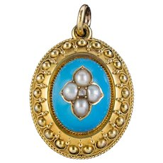 Antique Victorian Etruscan Revival Blue Enamel Pearl Mourning Locket 18ct Gold Circa 1860