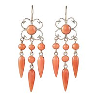Antique Victorian Coral Chandelier Earrings 18ct Gold Circa 1880