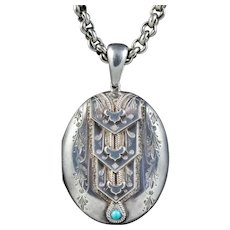 Antique Victorian Silver Turquoise Locket Necklace Circa 1880