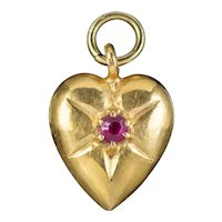 Antique Victorian Ruby Heart Pendant 15ct Gold Circa 1880